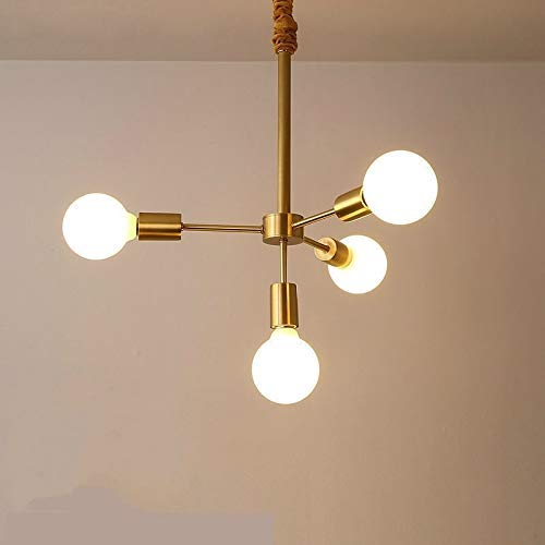 ZHANGYY und praktische Innen Pendelleuchte L 3 + 1 Köpfe Kreatives Wohnzimmer Esszimmer Schlafzimmer Einfache Kupferlampen Mit 5W Weißlicht LED Zarte Und Schöne Dekoration Pendelleuchte KA