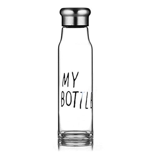hmilydyk Wasserflasche, Umweltfreundliches Borosilikatglas, Sport-/Wasserflasche