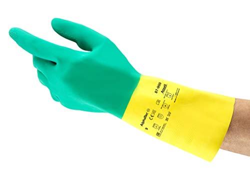 Ansell Bi-Colour 87-900 Naturgummilatex Handschuhe, Chemikalien- und Flüssigkeitsschutz, Grün, Größe 10.5-11 (12 Paar pro Beutel)
