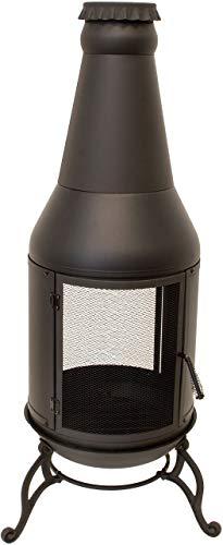 Nativ Gartenkamin mit Grillgitter, Feuerstelle für Terrasse und Garten im Bierflasche-Design, schwarzer Terrassenofen aus Metall, Terrassenkamin