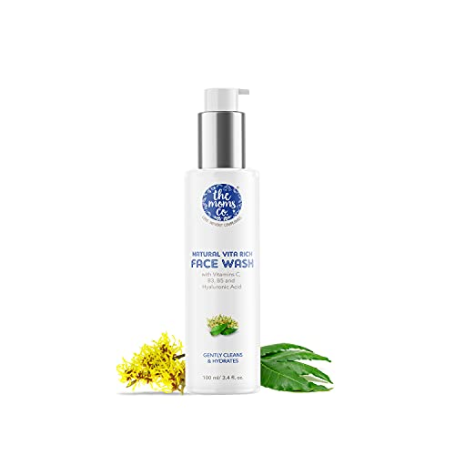 The Moms Co. Natural Vita Rich Face Wash | All Skin Types | With Vitamins C, B3 & B5, Neem Extract and Witch Hazel (100ml)