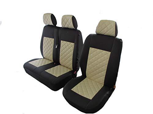 Funda de asiento de piel de color beige para Volkswagen VW Transporter T5 T6 después de 2004 (1 individual, 1 doble)