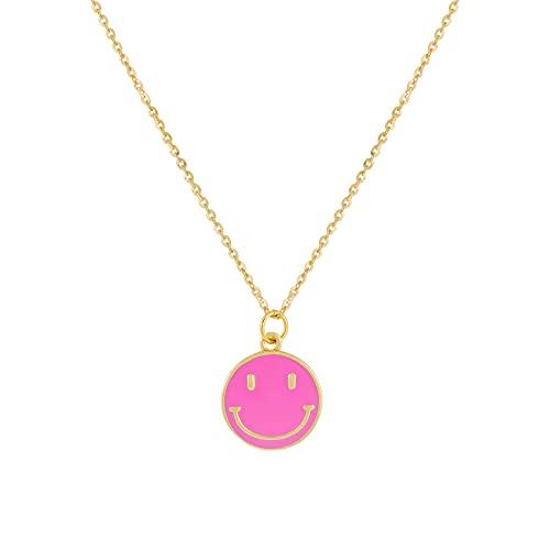 Personalidad Simple Moda Salvaje Rosa Epoxi Cara Sonriente Colgante Collar Cobre Plateado18KJoyería Que Preserva El Color Goteo Collar De Cadena De Clavícula Joyería Para Hombres Y Mujeres