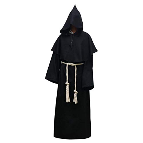 LuohuiFang Disfraz de Halloween para hombre, unisex, con capucha, disfraz de payaso, mono, para adultos, decoración Para hombre. large negro