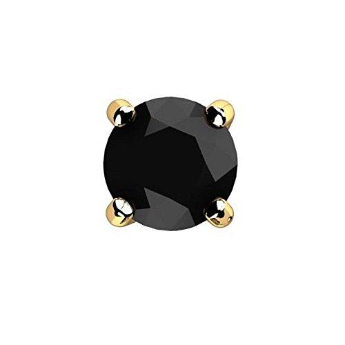 Pendiente de oro amarillo de 14 quilates con diamante negro redondo para hombre.