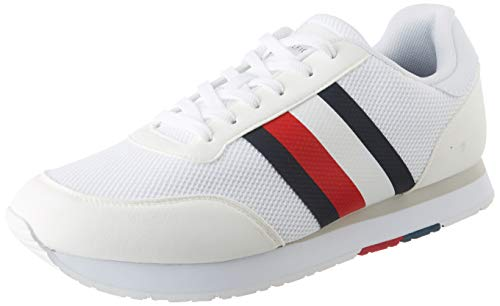 Tommy Hilfiger Corporate Material Mix Runner, Zapatillas para Hombre, Blanco (White Ybs), 41 EU