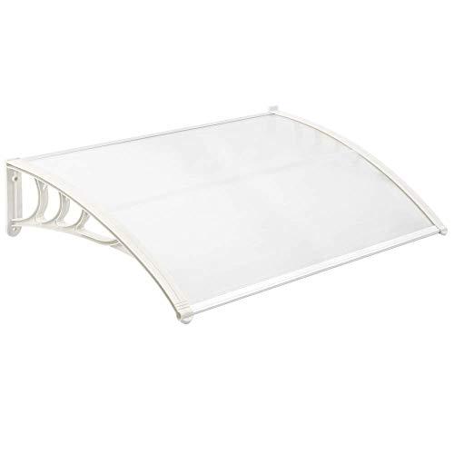 PrimeMatik - Tejadillo de protección 120x80 cm Transparente. Marquesina para Puertas y Ventanas con Soporte Blanco