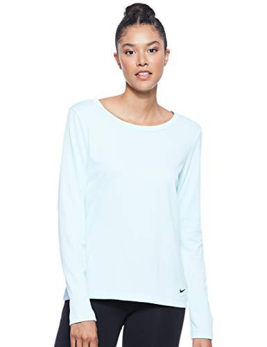 NIKE W NK Dry Top LS ELASTIKA Camiseta de Manga Larga, Mujer, Teal Tint/Black, M