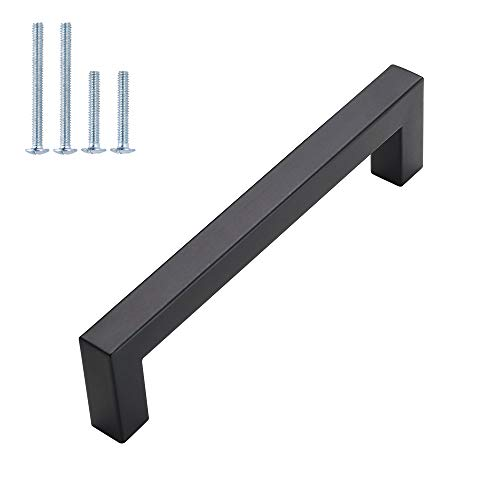 15Pack 5in Cabinet Handles Matte Black Cabinet Pulls - goldenwarm LSJ12BK Kitchen Square Drawer Pulls Black Kitchen Cabinet Hardware Kitchen Handles for Cabinets Cupboard Handles Drawer Handles