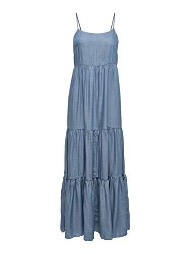Only ONLMIKKA Life Reg LYOCEL DNM Dress York Vestito, Media Blu Denim, 42 Donna