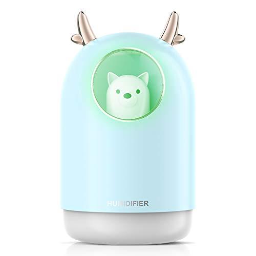Humidificador, 300 ml, difusor de aroma, humidificador, dormitorio, ultrasónico, lámpara aromática eléctrica con 7 colores cambiantes y apagado automático, sin agua azul