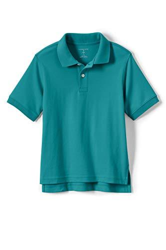 Lands' End School Uniform Kids Short Sleeve Interlock Polo Shirt Large Teal Breeze