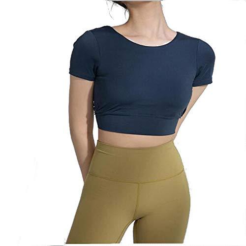 ILHF Frauen Trainingskleidung, schöne Rückenkreuz Kurzer Back Sport BH,Cyan,S