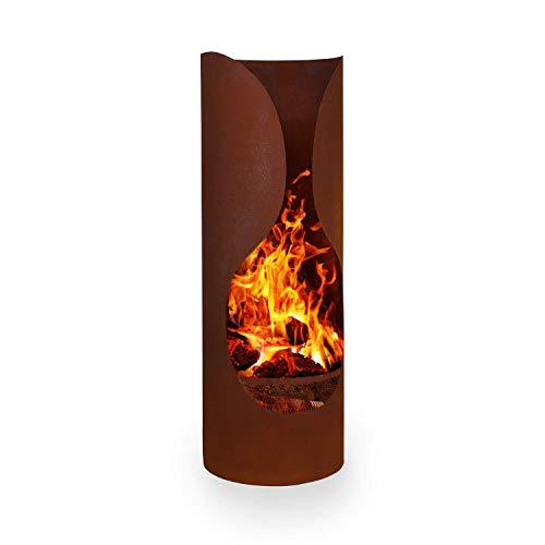 blumfeldt Verdon Rust Gartenkamin Terrassenofen, Stahl, FireView-Concept, feuerresistent, inklusive Holzkohlerost und Aschekasten, künstlich gerostet, sicherer Stand, Rost-Optik