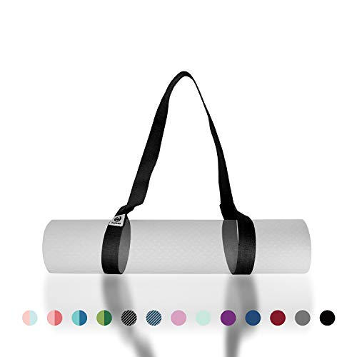 """Tumaz Yoga Mat Strap, Adjustable Mat Carrier Sling & Stretching Strap with Thick, Durable and Comfy Delicate Texture, 64"""" & 85"""" Inches, Multiple Color Choices [Mat NOT Included]"""