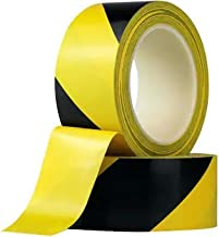 Meenamart 48mm x 25 m Tear Resistant Adhesive Caution Yellow and Black Striped Barrocade Floor and Safety Marking Tape for...