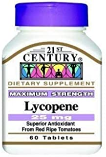 LYCOPENE , Maximum Strength, 25 mg, TRIPLE VALUE PACK (3X 60 TABLETS) by 21st Century Health Care