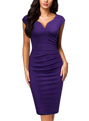 Miusol Women's Vintage Slim Style Sleeveless Business Pencil Dress (Medium, Purple)