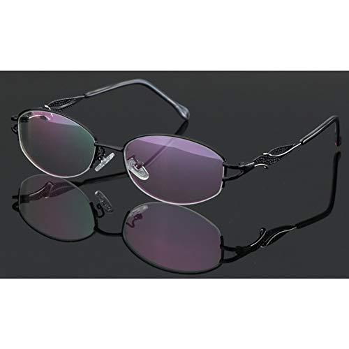 Stijlvolle fotochrome leesbril, multifocale lezers voor dichtbij en veraf Brillen Zonnebrillen, Harslens Metalen patroon Frame veerscharnier. (Color : Black, Size : +1.75)