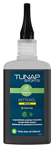 TUNAP SPORTS Kettenöl Ultimate E-Bike Ready, 100 ml Tropfflasche | Fahrrad Langzeit-Schmierung für Ritzel, Schaltwerk und Kette | Bike-Testsieger 2020