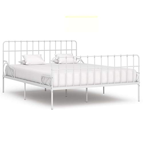 Irfora Bed Frame with Slatted Base, Double Bed Frames for Adults White Metal 180x200 Cm