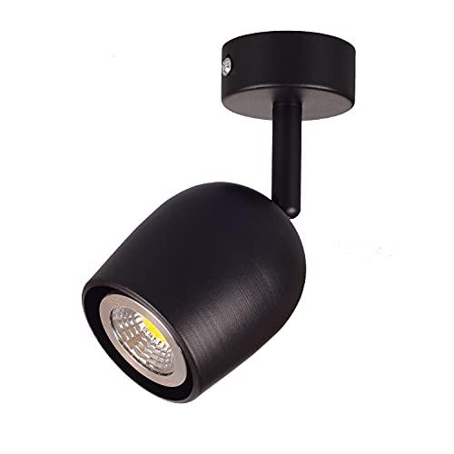 TWSXTE Lámpara de techo LED 1 foco giratorio orientable GU10 portalámparas foco 1 llama giratorio giratorio (sin bombilla)