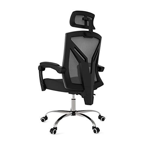 Hbada Ergonomic Office Chair - Modern High-Back Desk Chair - Reclining Computer Chair with Lumbar Support - Adjustable Seat Cushion & Headrest- Breathable Mesh Back - Black
