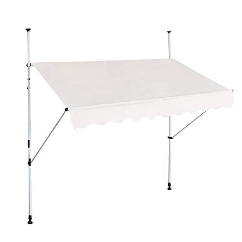 LZQ Tenda da sole a morsetto per balcone, retrattile manuale, regolabile in altezza, resistente ai raggi UV, senza forature, 100% poliestere (350 x 120 cm, beige)