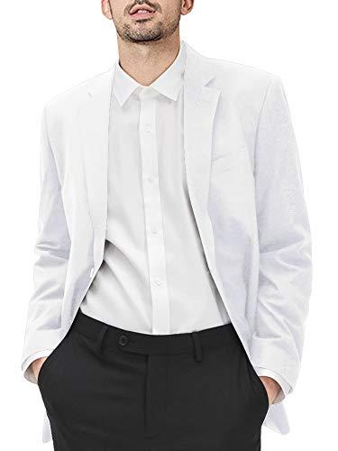 Hestenve Mens Classic Lapel Blazer Tuxedo Lightweight Sport Jacket Coat White