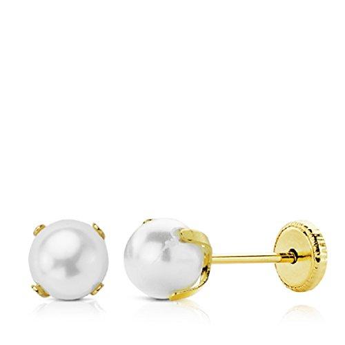 Orecchini da bambina/donna, in oro 18 carati, con perla cult di 7 mm, con perno