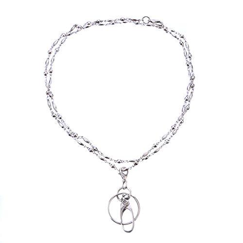 Baiyao Collier tour de cou avec pendentif pour badge d'identification, porte-clés, téléphone portable, chaîne antivol pour femme - - Taille Unique
