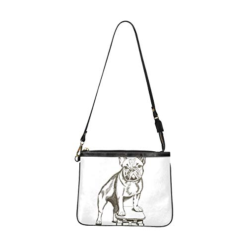 Bag Fashion For Women Dog Stand On A Skateboard Crossbody Bags For Men 10 X 8 Inch Lightweight Pu Leather Woman Crossbody Bag With Long Strap For Women