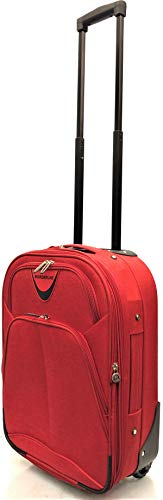 Ryanair & EasyJet Lightweight Expandable Cabin Approved Trolley 2 Wheeled Luggage Bag (18 inch FITS Within 55 x 40 x 20cm & 21 inch FITS Within 56 x 45 x 25cm) (18' Ryanair, Red)