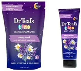 Dr Teal's Kids Gentle Epsom Bath Sleep Soak & Body Lotion with Melatonin & Essential Oils Gift Set