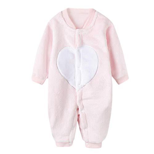 DEBAIJIA Baby Strampler 0-2T Säugling Overall Kleinkind Spielanzug Footed Neugeborene Jumpsuit Kinder Pyjama Junge Mädchen Unisex (Rosa-90)