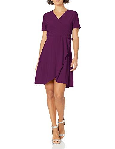 Star Vixen Women's Petite Short Sleeve Ballerina Wrap Dress, Purple, PM