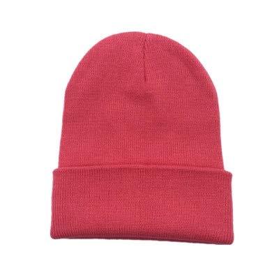 Sombreros de Invierno para Mujer nuevos Gorros de Punto sólido Lindo Sombrero niñas otoño Gorros Femeninos Gorros más cálidos Gorra Informal para Mujer-PeachRed