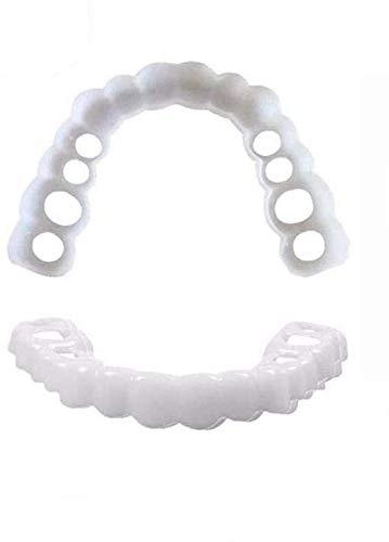 Dientes Flexibles Comfort Fit - Juego a juego, tono blanco brillante. ¡Arregle su sonrisa en casa en minutos! Funciona mejor en bocas de tamaño mediano a grande. (Upper and lower denture set1.0)