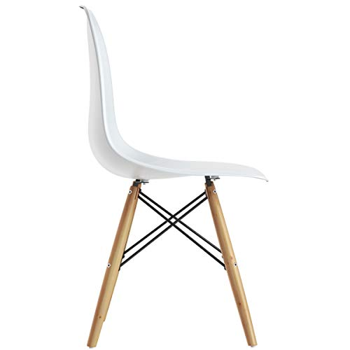 Giantex DSW Chairs, Pre Assembled Mid Century Modern Dining Chairs, with Wood Legs, Armless Kitchen Chairs, Shell Lounge Plastic Side Chair Kitchen, Dining Room, Living Room, Set of 2, White