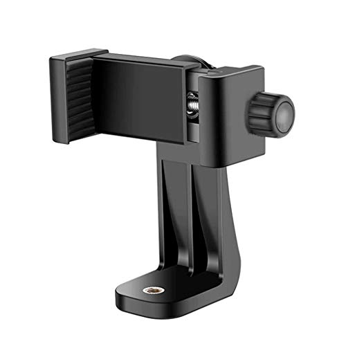 MARRRCH Tripod Phone Mount Holder Head Standard,Tripod Mount Adapter Rotatable Bracket with 1/4 Inch Screw/Adjustable Clip for iPhone, Android Cell Phone, Selfie Stick, Camera Stand (Black)