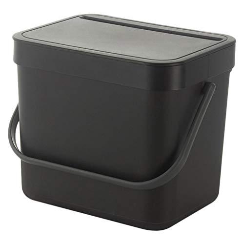 UPKOCH Abfalleimer Biomülleimer Kunststoff Komposteimer mit Deckel und Henkel Tragbar Mülleimer Wand Abfallbehälter Inneneimer für Küche Badezimmer Auto Außen (Schwarz)