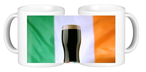 Taza de café de cerámica personalizada con pinta de Guiness con bandera de Irlanda y posavasos