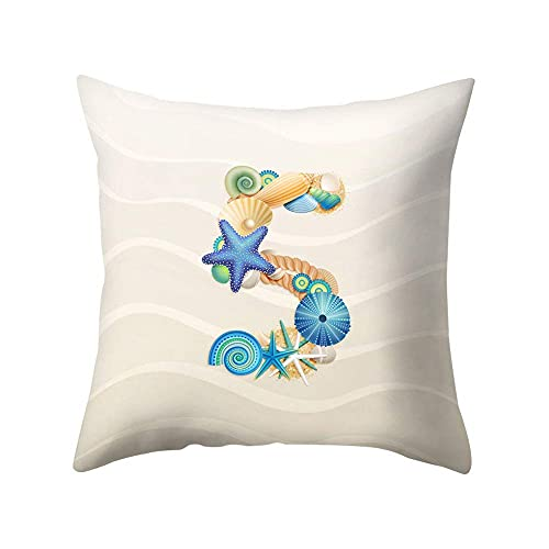 XCNGG Federa Pillow Protector, Shell Starfish Letter Square Waist Throw Pillow Case Cushion Cover Bedding Articles Car Sofa Home Decor ...