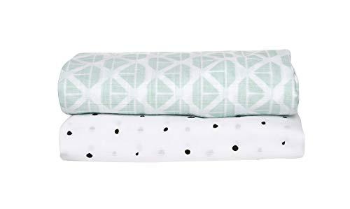2er Set Swaddle & Burp Blanket Puckdecke Spuckdecke Einschlagtücher aus Baumwoll Musselin 100x120 cm, 100% naturreine Baumwolle - Öko-Tex Standard 100 (XX-Large, Schiffe mintgrün)