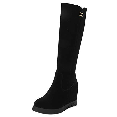 RAZAMAZA Schuhe Damen Elegant Knee Boots High Heels Keilstiefel Party Tall Boots Winterschuhe Plateau Black Gr 40 Asian