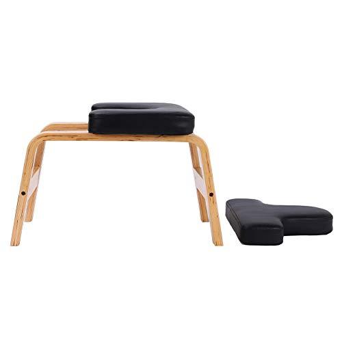 lahomie Silla de inversión de yoga, banco de madera con soporte para la cabeza, taburete de yoga, silla de entrenamiento