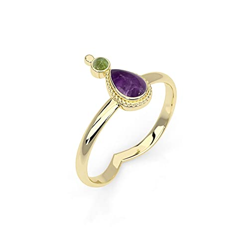 Boho Gold Brass Ring With Natural Amethyst and Green Peridot Stone, Unique Tribal Oval Stone Ring, Hippie Ethnic Handmade Natural Gemstone Ring, Size 7, Tribal Jewelry For Women