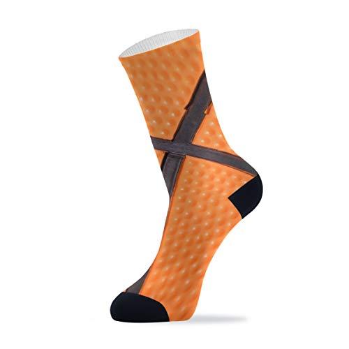 Linomo Balón de baloncesto de lujo deportes al aire libre, calcetines informales, tobillos altos, calcetines de vestir para hombres y mujeres, 1 paquete, Hombre, multicolor