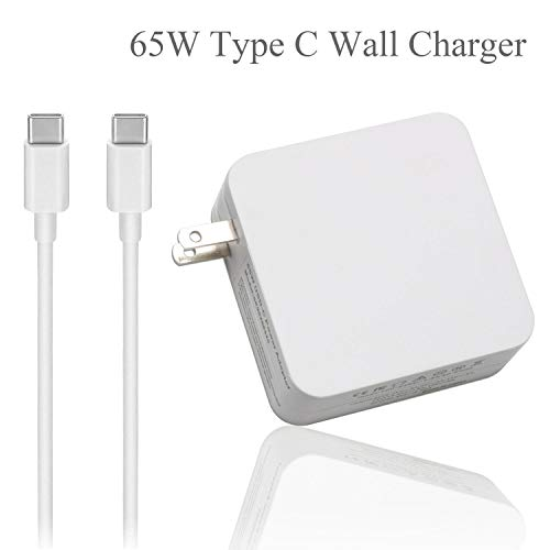 VUOHOEG USB C 65W Type C Power Adapter Charger for MacBook/Pro ASUS Acer Huawei HP; Lenovo Yoga 910;Yoga 720-13; Yoga 2nd ;ThinkPad X1; Ideapad 720S with USB-C to USB-C Cable Power Supply Cord
