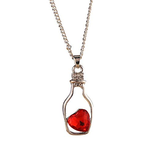 Mingi Candy Colours Collana con Ciondolo Bottiglia di Cristallo Amore Cuore deriva per Donna Ragazza, Rosso
